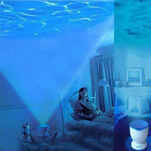 1 Piece Night Light Projector Ocean Blue Sea Waves Projection Lamp With Mini Speaker Ocean Waves Night Light(China)