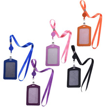 5 Pcs Vertical Style PU Leather Business ID Badge Card Holder with 5 Pcs Retractable Lanyard Neck Strap Band(China)