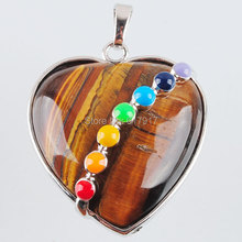 Free shipping Jewelry Natural Tiger's Eye Gem Stone Heart Silver Plated Healing Reiki Chakra Pendant Charm Bead 1pcs TN1222
