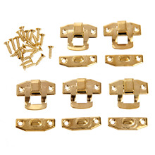 5Pcs 23x20mm Antique Gold Iron Latch Decorative Jewelry Gift Wine Wooden Box Suitcase Case Hasp Latch Hook With Screws
