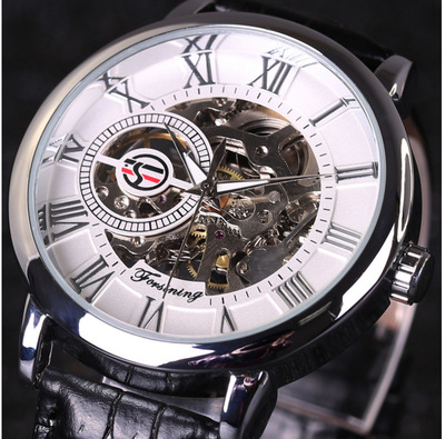 00JARAGAR/WINNER/FORSINING watch hollow out manual mechanical skin with table<br>