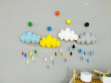 Lovely Cartoon Cloud Raindrop Decor Doll Stuffed Cushion Pillow Girls Boys Bed Room Decoration Toys For Baby Children