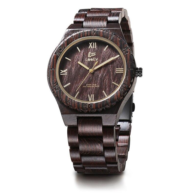 LeeEv EV1908 Mens Natural Wenge Wood Watch Analog Quartz Light Weight Vintage Wooden Wrist Watch<br>