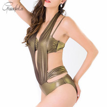 2017 New Golden Womens Swim Wear Bandage Halter One Piece Swimsuit Strappy Bikini Set Cut Out maillot de bain femme