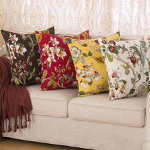 "Vintage Floral Cotton Decorative Cushion Covers 17.7*17.7"" / Sofa Throw Pillow Cover 45CM Office Home Decor Good Quality Gifts"