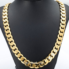 Davieslee Hip Hop Mens Necklace Curb Cuban Chain Gold Filled Jewelry Party Daily Wear 12mm DLGN270(China)