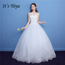 It's YiiYa Off White Sleeveless O-Neck Popular Wedding Dresses Embroidery Plus Size Pregnant Quality Crystal Bride Frock D13(China)