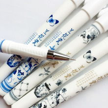 3pcs Elegant Chinese Orchid Porcelain Printed Butterfly Flower Gel Pen Writing Signing Pen Stationery School Office Supply 0.5mm(China)