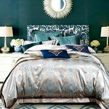 4pcs mulberry luxury Silk bed linen Jacquard BLUE silk Bedding sets Damask duvet cover Queen king silk sheets Bedclothes
