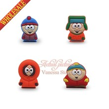 4pcs South park  PVC Pins Badges Brooches Fashion collection Kid's Christmas Gift DIY charms fit Clothes Bags shoes decoration