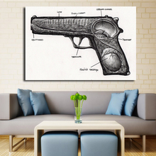 Modern Abstract Canvas Print Poster Black And White Painting Gun Pictures Still life Painting Living Room Decor No Frame