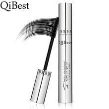 QiBest Bushy Mascara Waterproof Non-Smudge Silicone Brush Rimel 3d Colossal Curling Black Mascara Fibre Eye Makeup Silver Tube(China)