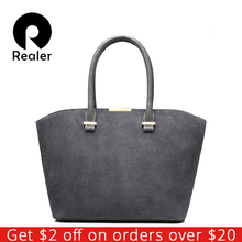 REALER new fashion women handbag high quality artificial leather women tote bag gray/black/red/blue/brown 5 colors crossbody bag(China)