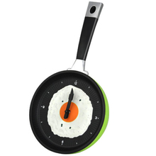 PHFU Frying Pan Clock with Fried Egg - Kitchen Cafe Wall Clock - Green(China)
