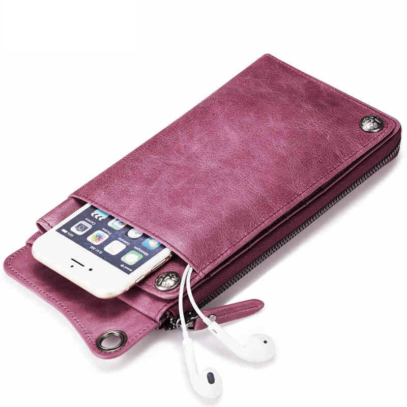 Genuine Leather Women Wallet Lady Clutch Zipper Phone Pocket Purse Female Wallet Designed for Couples<br>