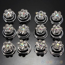 12Pcs Crystal Wedding Bridal Hair Pins Twists Coils Flower Swirl Spiral Hairpins(China)