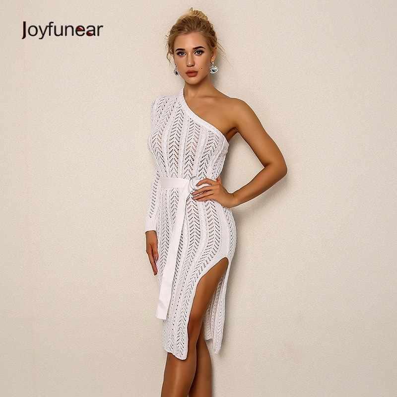 fea43b0a15f7 Joyfunear вязаное Открытое сексуальное женское платье Лето 2018 новый  ремень облегающее Белое платье миди элегантное платье
