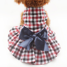 Armi store Fashion Plaid Dog Dresses Princess Dress For Dogs 6071062 Puppy Clothes Supplies XS S M L XL(China)
