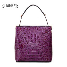 Suwerer 2017 new crocodile pattern messenger bag head layer of leather handbag tide(China)