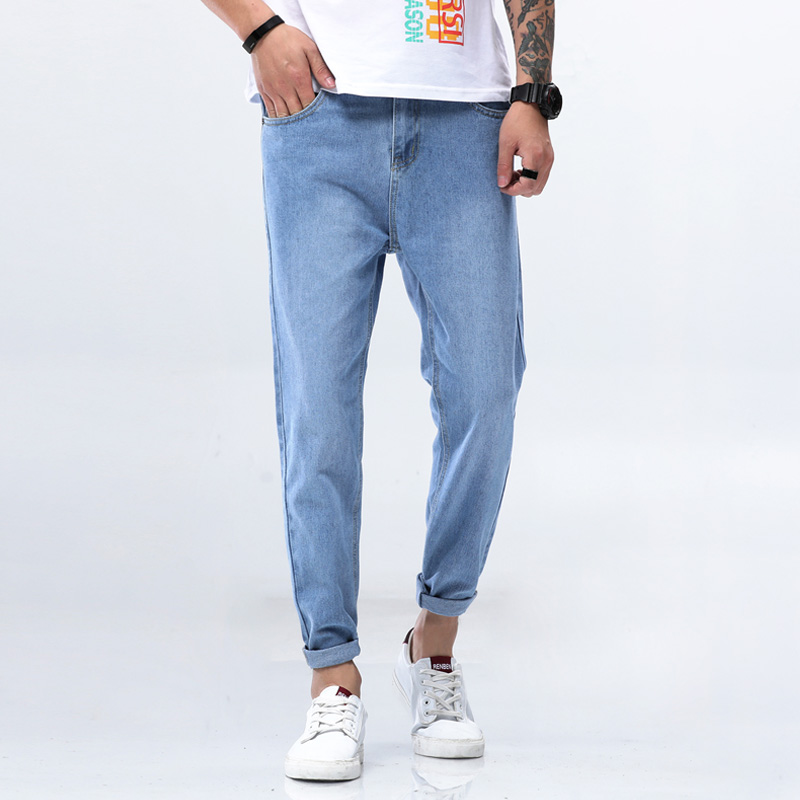 Solid Jeans Men Simple Pencil Pants Cotton Cargo Jeans Pant Male Trousers Youth Full Length Casual Chinese Brand Jeans Free Ship