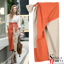 New Women Orange Blue Color Casual Sexy Skirt Mid Calf Length Bud Shape Fashion Wear Solid Ribbon Waist Skirt Style 2136(China)
