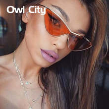Owl City Cat Eye Sunglasses Women One Piece Vintage Sunglass Retro Ladies Brand Designer Sun Glasses Black Red Color Pink Mirror(China)