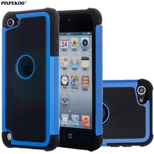 For Apple iPod Touch 6 & Touch 5 Case Honeycomb Anti-slip Hard PC Bumper Grip & Soft Silicone Dual Layer Armor Phone Cover Shell(China)