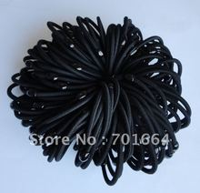 50PCS 4mm black elastic ponytail holders with black plastic beads connection(China)