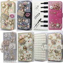 Silver Bling Handmade Glitter Rhinestone Pearl Leather Flip Wallet Protective Case For iPhone 4 4s 5 6 plus 7 Plus(China)
