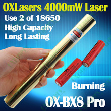oxlasers Full brass housing OX-BX8 Pro 4000mw 4W focusable burning blue laser pointer uses 18650 batteries 5 in 1 free shipping(China)
