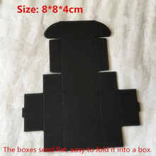 50pcs/lot-8*8*4cm Black color Kraft paper packaging box Jewelry handmade Soap Aircraft box