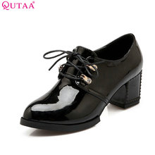 QUTAA White Ladies Autumn Shoes Square High Heel Woman Pump PU Patent leather Lace Up Women Casual Shoes Size 34-43