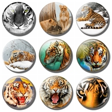 Tiger 30MM Fridge Magnet Black Art Picture Animal Gift Glass Cabochon Magnetic Refrigerator Stickers Note Holder Home Decoration(China)