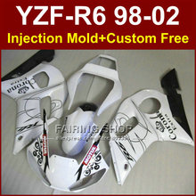 E6H Clean white fairing parts for YAMAHA fairings kit YZF  R6 98-02 YZF R6 1998 1999 2000 2001 2002 custom fairing 7EFE