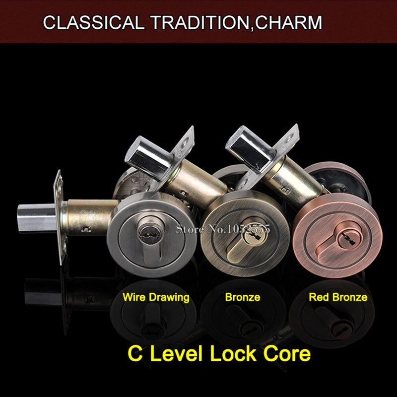 High Quality Zinc Alloy Brass Lock Cylinder Single Open/Double Open Deadbolt Door Lock Safety Guard Dead Bolt With Keys K103<br>