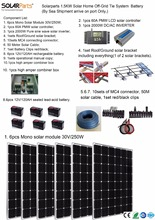 Boguang Solarparts 1x 1500W Solar Home off-grid tie systems solar kit by sea 250W Mono solar modules bracket controller battery