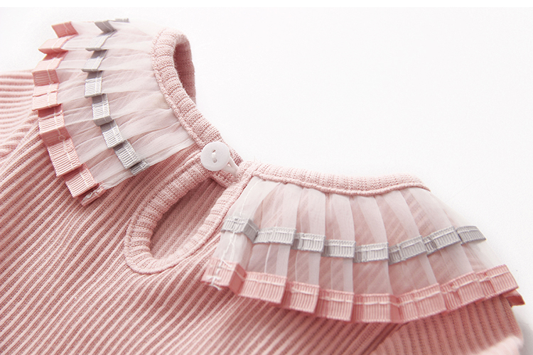 2018 Spring Autumn 100% Cotton White Grey Pink Solid Color Long Sleeve Pleated Turn-Down Collar Neck T Shirt For Girls 10 Years (20)