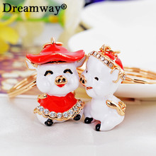 crystal enamel pig key chain rhinestone animal couple keychains lover's keyring boy girl bag charm pendant drop shipping