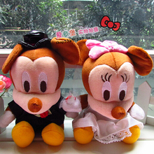 2pcs/lot Couples of Wedding Mickey and Minnie Plush Toys Wedding Gift Car Decoraiton Cute Dolls