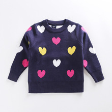 2016 children sweater heart pattern cardigan sweaters for girls sweet cute cotton long sleeve baby sweater for kids winter(China)