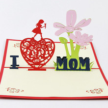 3D Flower Handmade Pop Up Greeting Cards Kirigami Mother's Day Card Postcard Paper Crafts Xmas Gifts