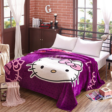 Warm Cartoon Hello Kitty Flannel Blanket Sofa Throw Blankets On Bed Girls Children Fleece Plaid Kids Quilt Picnic Sheets