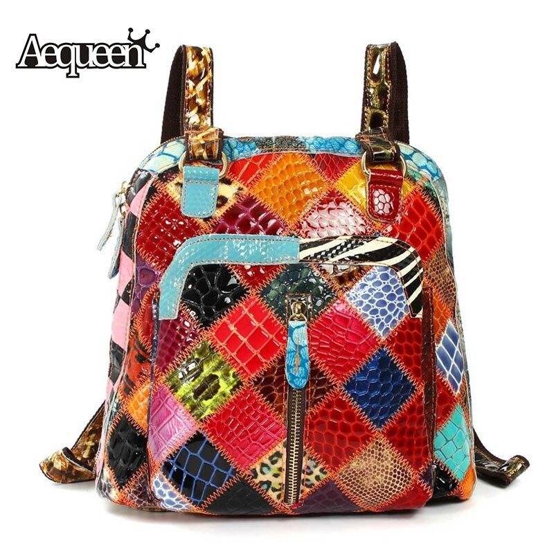 AEQUEEN Colorful Genuine Leather Women Backpack Sheepskin Vintage Ladies Backpacks Shoulder School Bags Random Color<br>