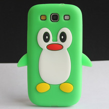 Cute Green Penguin Silicone Design Soft Back Protective Skin Cover Case For Samsung Galaxy S3 III i9300 Coque Funda Capa New