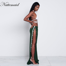 NATTEMAID runway Women wide leg pants palazzo long capri Ladies casual loose Side split bohemian pants Bottom women trouser