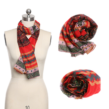 1 PC Lady Girl Red Vintage Women Long Soft Cotton Voile Print Scarves Shawl Wrap Scarf Scarves New