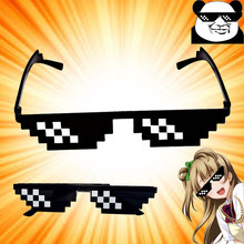 2017 Hot Sell Thug Life Glasses 8 Bits Pixel Deal With IT Sunglasses Minecrafter Sunglasses Toy Adult Kids Action Game Toys(China)