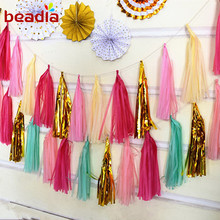 Wholesales 13.8 inch (35cm) 5pcs Tissue Paper Tassel Garland DIY Wedding Birthday Decoration Party Event Pack Decoration Colors