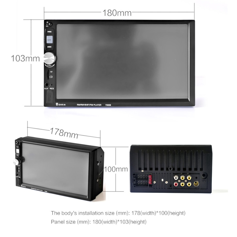 7 Inch 7080B Car MP5 Audio Car Video Player with HD Touch Screen Bluetooth Stereo Radio USB Auto Electronics Remote Control