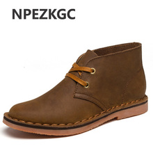 NPEZKGC New Hot Classic Leather Tooling Boots Crazy Horse Men Fashion Desert Boot Popular High Top Shoes Autumn Winter Flats(China)